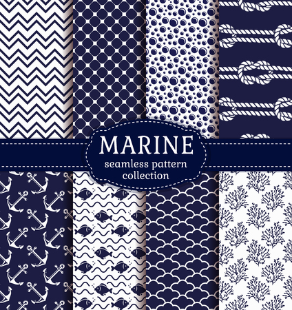 alga: Set of marine and nautical backgrounds in navy blue and white colors. Sea theme. Seamless patterns collection.