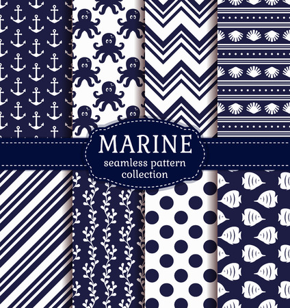 butterflyfish: Set of marine and nautical backgrounds in navy blue and white colors. Sea theme. Seamless patterns collection.