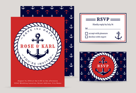 blue party: Nautical wedding invitation cards. Sea theme wedding party. Elegant templates in white, red and dark blue colors. Vector collection.