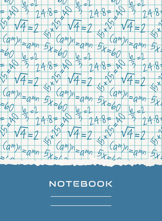 notebook design: Notebook cover design with mathematical pattern. School and science themes. Vector background.