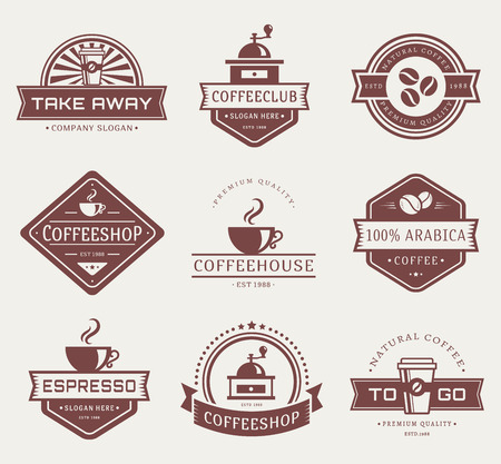 take away: Coffee logo templates. Set of labels for coffee shop or cafe. Logotypes isolated on white background. Vector collection.