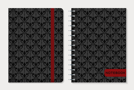 elastic band: Notebook cover design. Notepad with elastic band and spiral notebook with black damask patterns. Vintage style collection. Vector set.