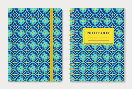 rubber band: Notebook cover design. Notepad with elastic band and spiral notebook with abstract blue and yellow pattern. Oriental style collection. Vector set. Illustration