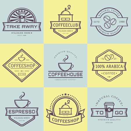 coffeehouse: Coffee   collection. Templates in outline style. Set of retro labels for coffee shop or cafe. Isolated   on yellow and blue stickers. Vector illustration.