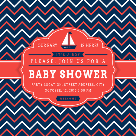 red white blue: Nautical baby shower. Sea theme baby party invitation. Cute card with sail boat and chevron background. Vector illustration.