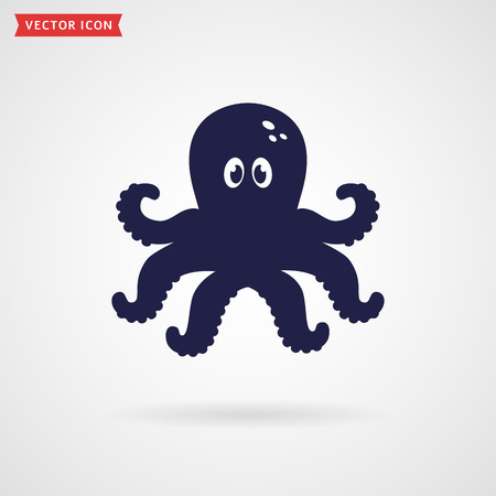 deepsea: Cute octopus icon isolated on white background. Sea and underwater themes. Vector illustration. Illustration