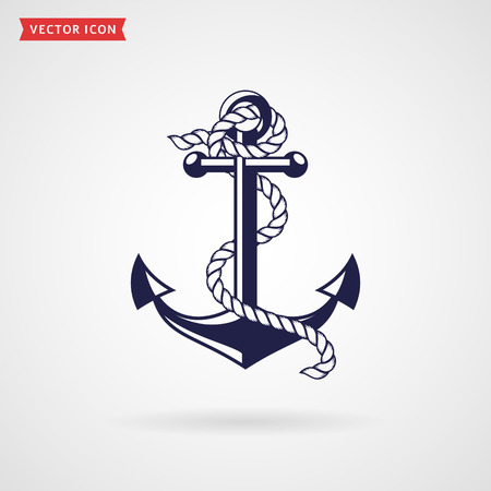 navy pier: Anchor icon isolated on white background. Silhouette of anchor with rope. Sea, nautical and travel themes. Vector illustration. Illustration