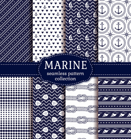 Set of marine and nautical backgrounds in navy blue and white colors. Sea theme. Elagant seamless patterns collection. Vector illustration.