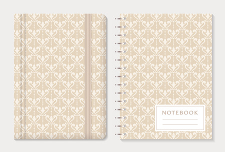 on elastic: Notebook cover design. Notepad with elastic band and spiral notebook with beige damask patterns. Vintage style collection. Vector set.