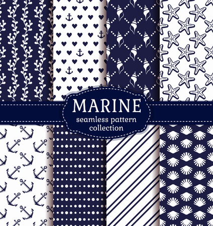 deepsea: Set of marine and nautical backgrounds in navy blue and white colors. Sea theme. Seamless patterns collection. Vector illustration. Illustration