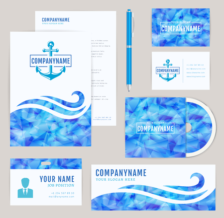 Set of corporate identity templates with anchor . Nautical and sea themes. Flyer, id card, cd cover, banner and business card. Elegant branding design with a triangular pattern. Vector collection.