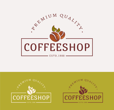 coffee leaf: Coffee shop  . Templates for %u0441olor and monochrome versions.   isolated on clean background. Vector illustration.
