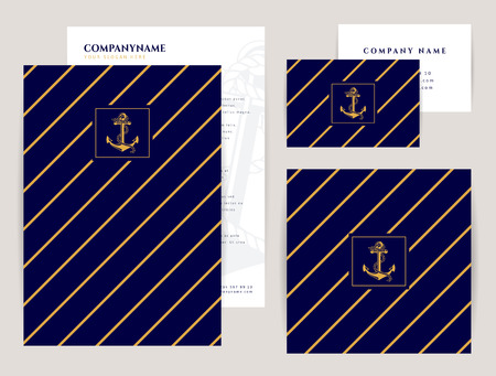 striped: Set of corporate identity templates with anchor  . Nautical and sea cruise themes. Flyer, square banner and business card. Elegant branding design. Vector collection.