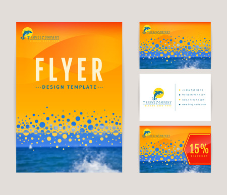 ocean wave: Set of corporate identity templates with dolphin  . Travel and sea cruise themes. Flyer, discount card and business card with front and back views. Colorful branding design. Vector collection.
