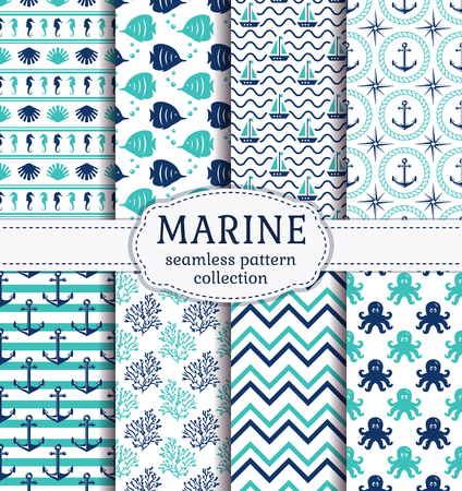 Set of marine and nautical backgrounds in navy blue, turquoise and white colors. Sea theme. Cute seamless patterns collection. Vector illustration. Ilustração