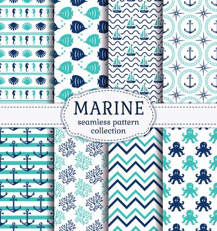 Zestaw morskich i morskich tÅ,a w kolorze granatowym, turkusowym i biaÅ,ym. Motyw morza. Cute kolekcji bezszwowych wzorców. Ilustracji wektorowych.