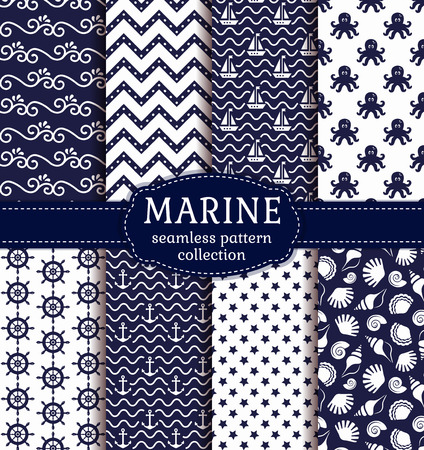 Set of marine and nautical backgrounds in navy blue and white colors. Sea theme. Seamless patterns collection. Vector illustration. Ilustração