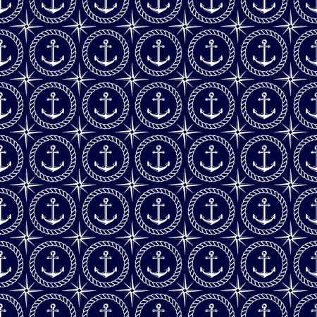 Nautical seamless pattern with anchor, wind rose and rope. Elegant vector background.