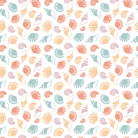 Seamless pattern with shells of different colors isolated on white background. Sea and beach themes. Vector illustration.