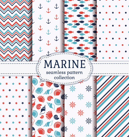 animal pattern: Set of marine and nautical backgrounds in blue, red and white colors. Sea theme. Cute seamless patterns collection. Vector illustration.
