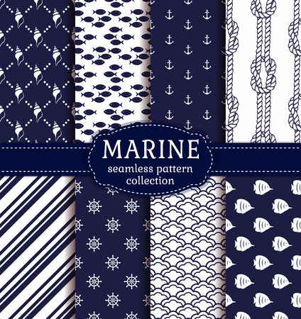 copperband butterflyfish: Set of marine and nautical backgrounds in navy blue and white colors. Sea theme. Elegant seamless patterns collection. Vector illustration.