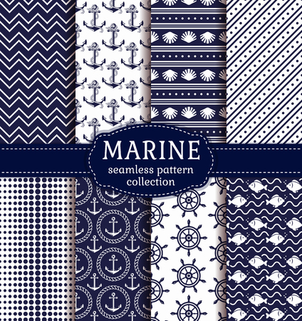deepsea: Set of marine and nautical backgrounds in navy blue and white colors. Sea theme. Elegant seamless patterns collection. Vector illustration.