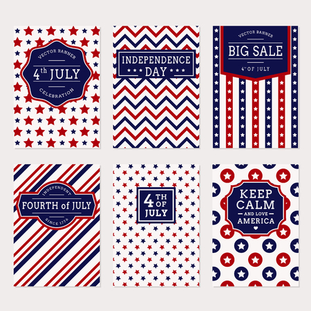 tagline: Happy Independence Day! Set of American banners for 4th of July theme. Collection of templates in traditional red, blue and white colors. Vector greeting cards, sale label and holiday banners.