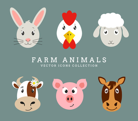barnyard: Farm animals. Set of cute animals head isolated on clean background. Vector flat icons.