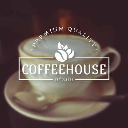 coffeehouse: Coffee house  . Retro   template with coffee beans on blurred background. White   in flat style. Vector illustration.