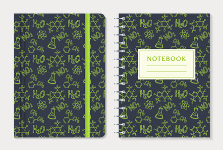elastic band: Notebook cover design. Set of notepad with elastic band and spiral notebook with chemical pattern. School and science themes. Vector collection. Illustration