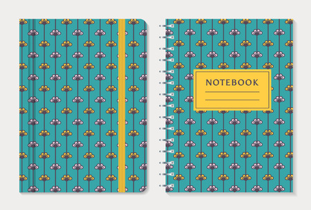 moleskin: Notebook cover design. Notepad with elastic band and spiral notebook with cute yellow and white flowers on blue background. Floral collection. Vector set.