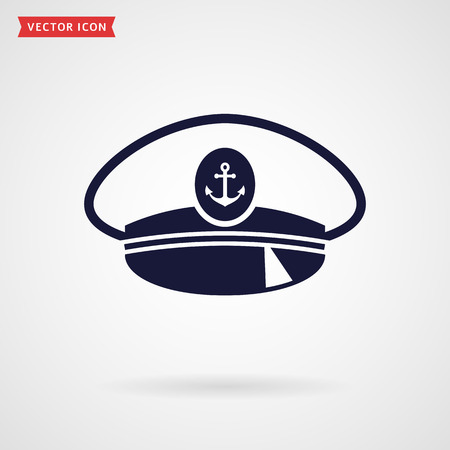 captain hat: Captain hat icon isolated on white background. Sea, nautical and travel themes. Vector illustration. Illustration