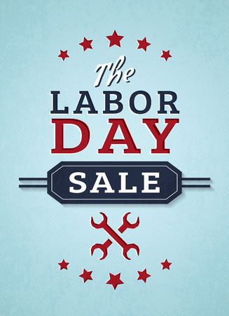 Labor day sale. Advertising banner in blue, red and white colors. Vector promotion card.