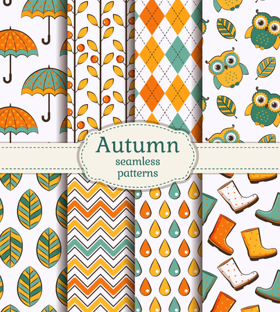 patterns vector: Set of autumn backgrounds. Collection of cute seamless patterns. Vector illustration.