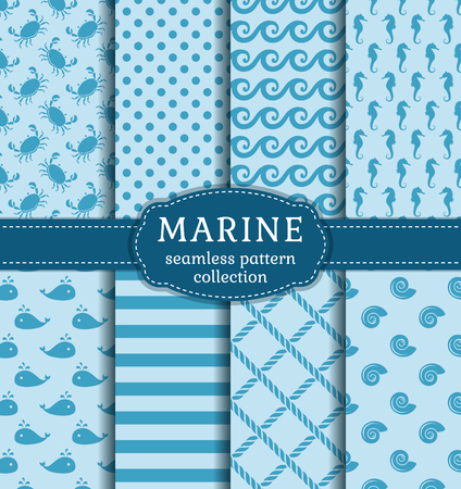 cute background: Set of marine and nautical backgrounds in blue colors. Sea theme. Seamless patterns collection. Vector illustration.