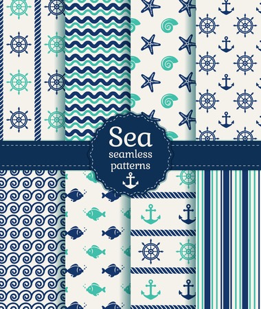 rope border: Set of sea and nautical seamless patterns in white, turquoise and dark blue colors. Vector illustration.