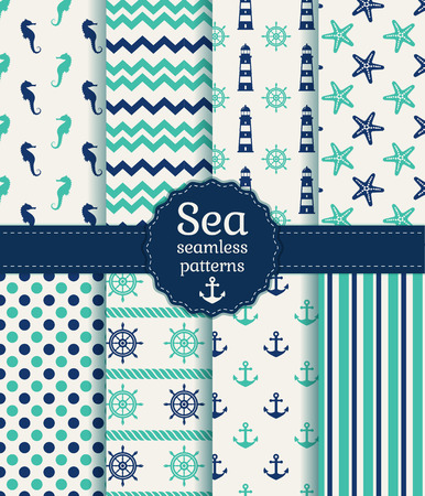 Set of sea and nautical seamless patterns in white, turquoise and dark blue colors. Vector illustration.