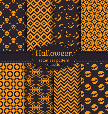 october 31: Happy Halloween! Set of seamless patterns with traditional holiday symbols: skulls, bats and web. Collection of backgrounds in black and orange colors. Vector illustration.