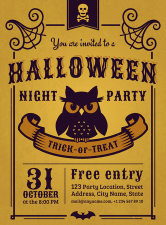 gloomy: Invitation to Halloween night party. Vintage card with gloomy owl on gold background. Vector template.