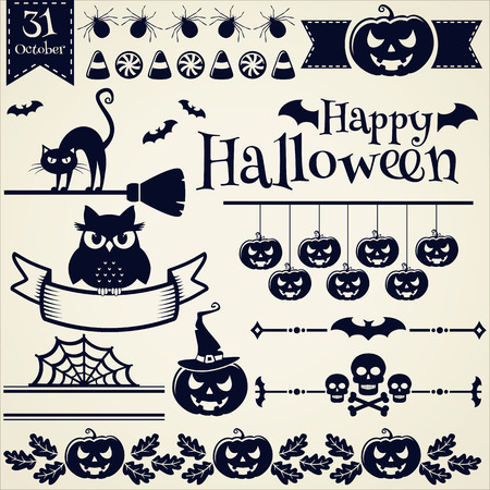 dingbats: Happy Halloween! Collection of elements for design and page decoration. Vector illustration. Illustration