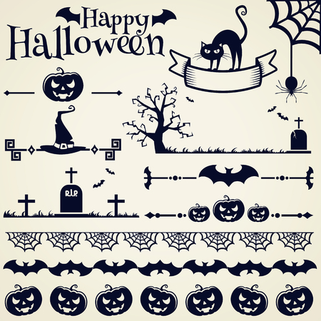 dividing line: Happy Halloween! Collection of elements for design and page decoration. Vector illustration. Illustration