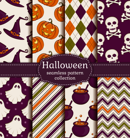 spectre: Set of 8 halloween backgrounds. Collection of seamless patterns in the traditional holiday colors. Vector illustration.