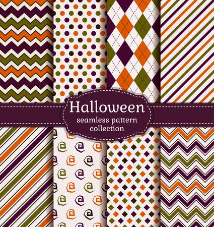 ハロウィーンのシームレスな背景のセットです。伝統的なハロウィンの色で幾何学模様のコレクションです。ベクトルの図。 写真素材 - 59186922
