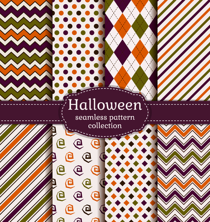 Set of halloween seamless backgrounds. Collection of geometric patterns in the traditional halloween colors. Vector illustration. Ilustração