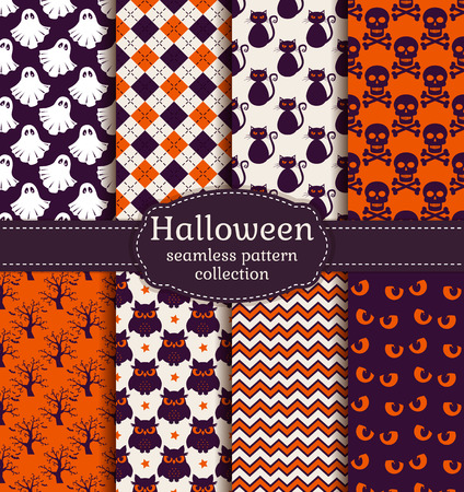 spectre: Set of halloween backgrounds. Collection of seamless patterns in the traditional holiday colors. Vector illustration. Illustration