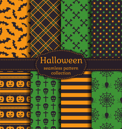spider's web: Happy Halloween! Set of seamless patterns with traditional holiday symbols: bats, pumpkins, skulls, spiders, web and other. Vector collection of backgrounds in black, orange and green colors.