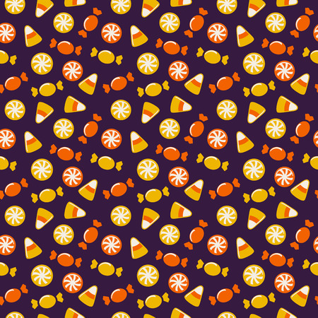 31: Happy Halloween! Background with sweets. Seamless pattern. Vector illustration.