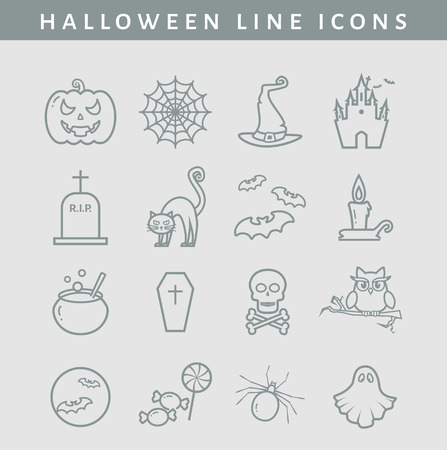 spectre: Set of halloween line icons. Collection of outline symbols isolated on clear background. Vector illustration. Illustration