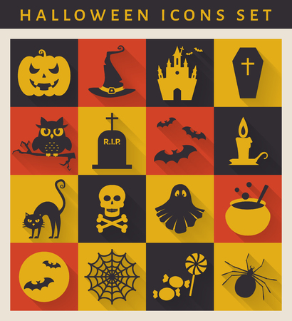 spectre: Halloween icon set. Symbols on flat style with long shadows. Vector collection.