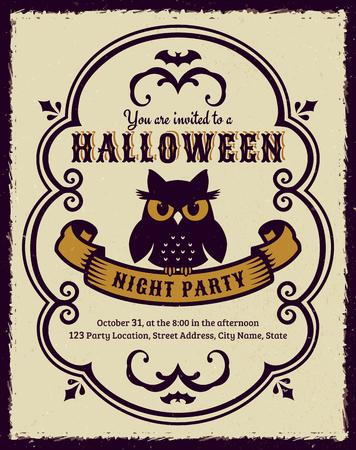 Invitation to Halloween night party. Vintage card with gloomy owl. Vector template. Ilustração